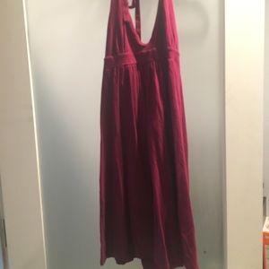 Burgundy cotton tie neck summer dress